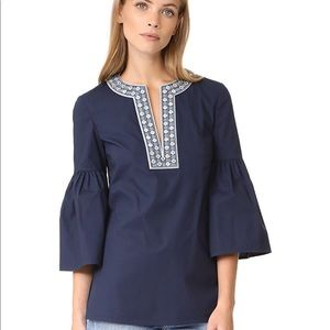 Tory Burch embellished bell sleeve top